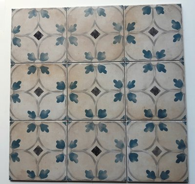 2.48 m2 Vintage Set Toiletvloer Restpartij Decortegels Blue Flower 20x20